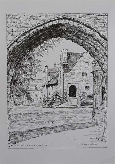 Arch and Priory Repton - image 9.5 x 7 inches on thin white card 11.75 x 8.25 inches (A4 size)