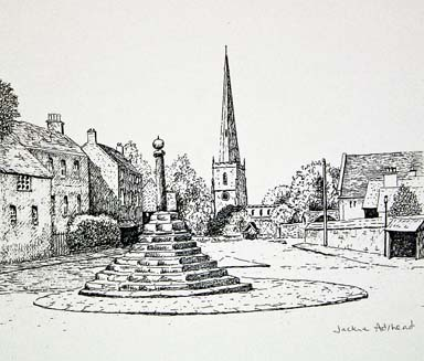 Church and Cross, Repton - image 7.5 x 6 inches on thin white card 11.75 x 8.25 inches (A4 size)