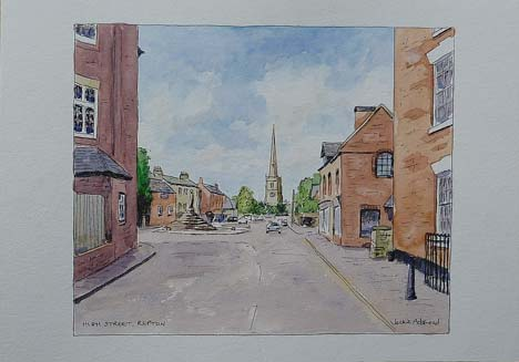 Church and Cross from Post Office, Repton - image 8.5 x 7 inches on thin white card 11.75 x 8.25 inches (A4 size)