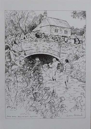 Duck Race, Repton - image 9.5 x 7.25 inches on thin white card 11.75 x 8.25 inches (A4 size)