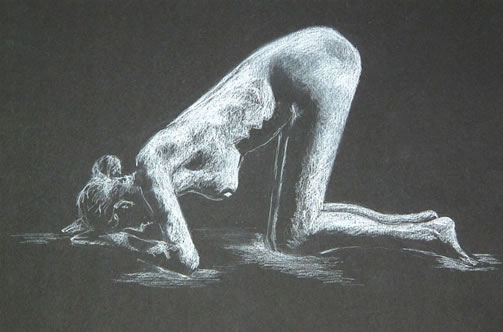 Kneel Forward - 16 x 10 inches - Conte pencil on card