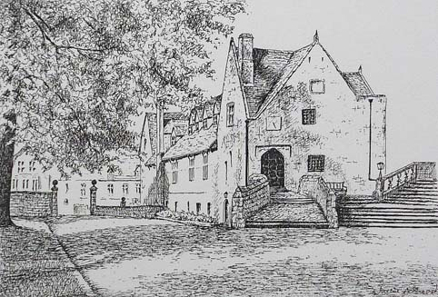 Old Priory Repton - image 7.5 x 5 inches on thin white card 11.75 x 8.25 inches (A4 size)