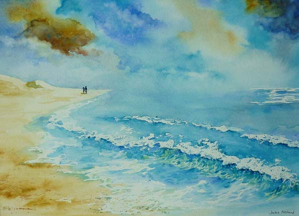 Where the sky meets the sea 15 x 11 inches - Watercolour